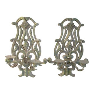 Carved Wood Hanging Candelabras - a Pair For Sale