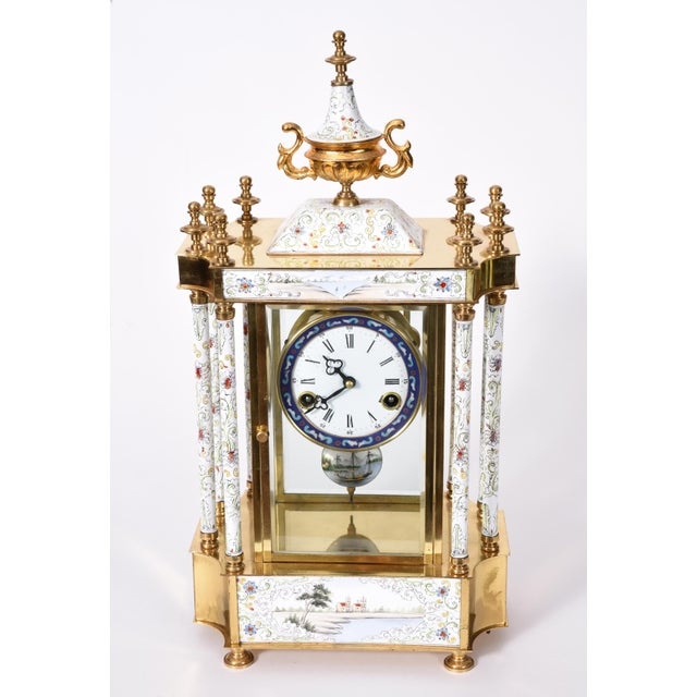 Beautifully handcrafted, mid-20th century brass frame mantel clock. This piece is just exquisite and in excellent vintage...
