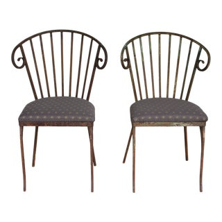 Wrought Iron Bistro Chairs - A Pair For Sale
