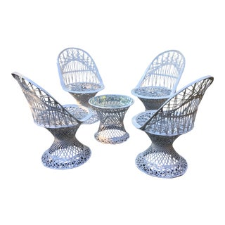 1970s Vintage Russell Woodward Spun Fiberglass Chairs & Side Table - Set of 5 For Sale