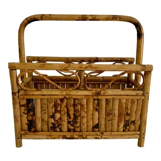 Vintage English Scorched Bamboo Magazine Stand For Sale