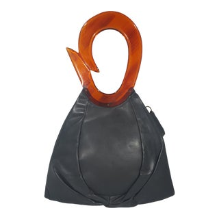 1940's Vintage Jenny Leather and Lucite Handbag For Sale