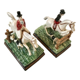 1970s Vintage Fitz and Floyd Equestrian Series Bookends - A Pair