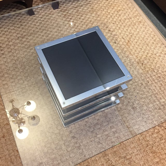 Contemporary Chrome and Glass Coffee Table - Image 6 of 8