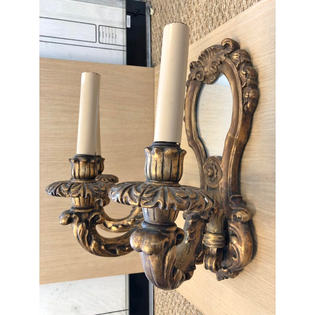 1920s 1920's Vintage Traditional Wood Carved Three Arms Gilded Wall Sconces For Sale - Image 5 of 7