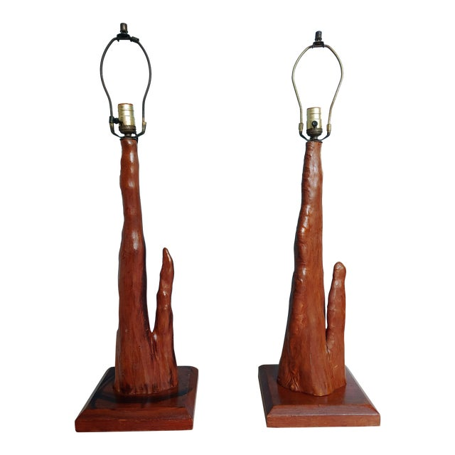 Mid-Century Old Florida Cypress Knee Lamps - a Pair For Sale