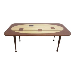 Mid Century Danish Dark Mahogany Inlaid Space Age Coffee Table For Sale