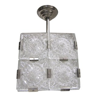 Cube Pendant Light Cut-Glass With Nickeled Clips For Sale