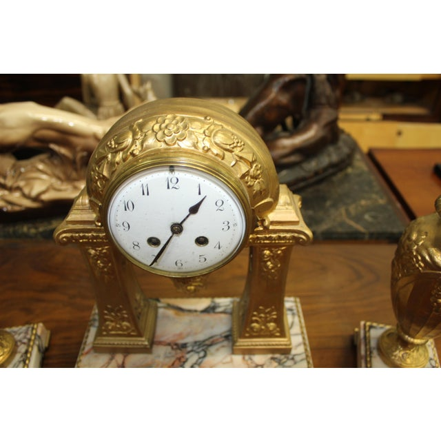 1940s French Art Deco Gilt Clock Garniture Set Signed G. Limousin - 3 Pc. Set For Sale In Miami - Image 6 of 11