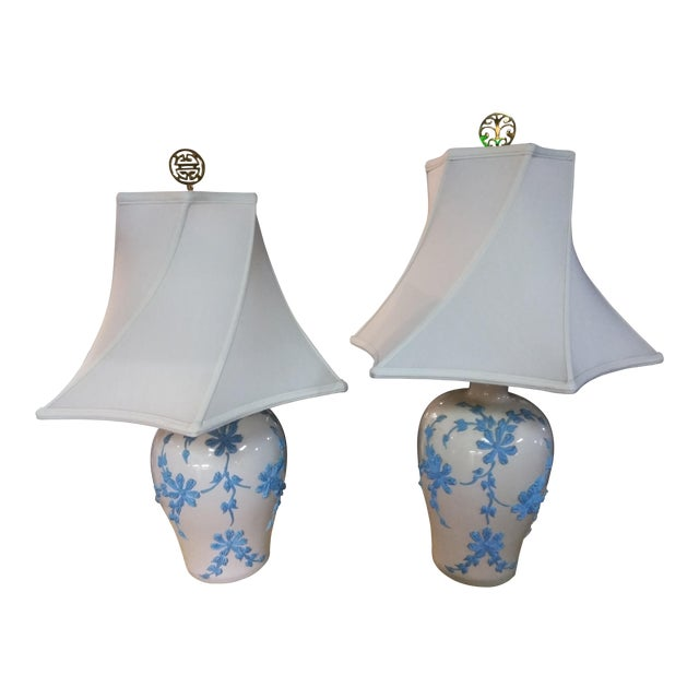 Vintage Mid Century Japanese Decorative Lamps With Shades - a Pair For Sale