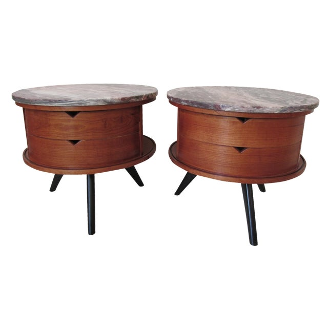 Round Side Tables with Marble Tops - A Pair - Image 1 of 8