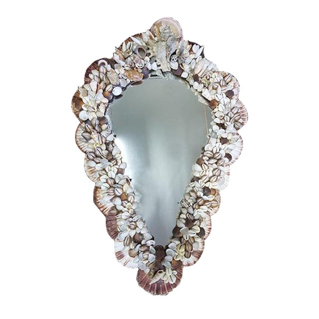 1970s Mid-Century Modern French Wall Mirror Adorned With Shells For Sale
