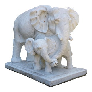 Marble Elephant & Calf Sculpture For Sale