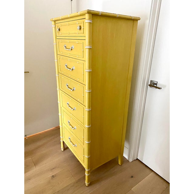 Chinoiserie Vintage Thomasville Faux Bamboo Dresser For Sale - Image 3 of 10