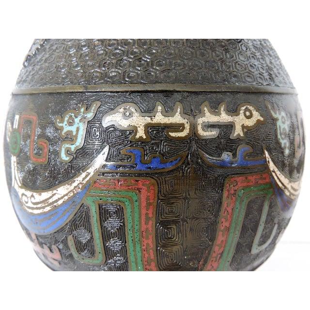 Antique Japanese Archaic Bronze & Multi Coloured Cloisonné Elephant Handled Table Lamp For Sale - Image 9 of 9