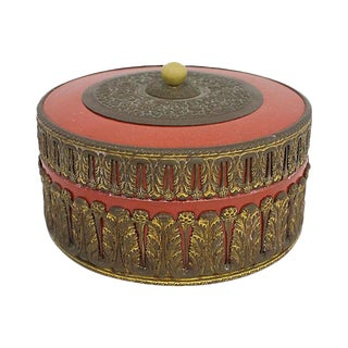 German Porcelain & Brass Box