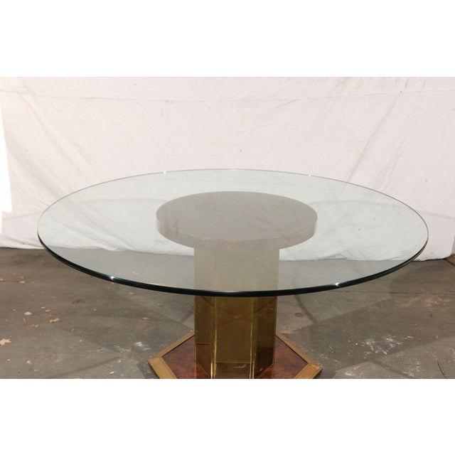 Mid-Century Modern Vintage Mid Century American Brass & Burled Wood Pedestal Table W/ Glass Top For Sale - Image 3 of 12