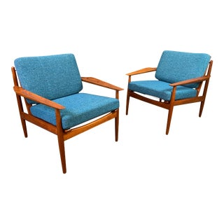 Vintage Danish Mid Century Modern Teak Easy Chairs by Arne Vodder for Glostrup Mobelfabrik - a Pair For Sale