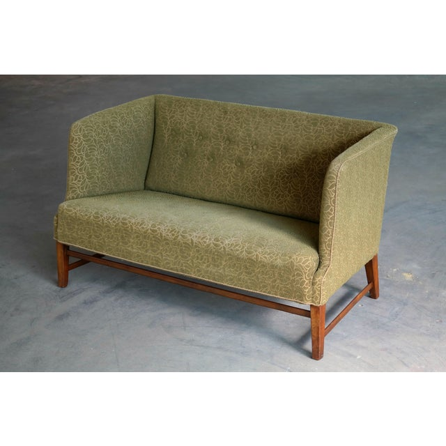 1930s Kaare Klint Style Danish Settee in Mahogany Attributed to Georg Kofoed For Sale - Image 4 of 12