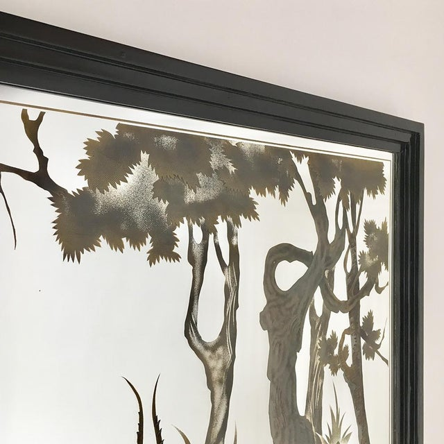 Framed Eglomise Glass Sculptural Wall Panel Circa 1960 For Sale - Image 4 of 6