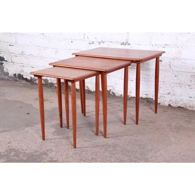 Danish Modern Teak Nesting Tables - Set of 3 For Sale - Image 11 of 11