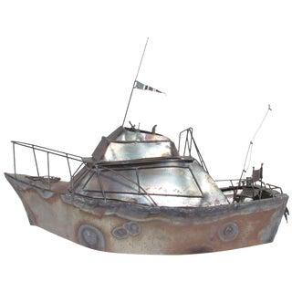"Metal Work Sculpture of Cabin Cruiser Boat ""Nansea"" Dated 1979 For Sale"