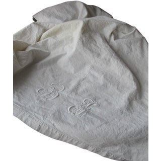 "Antique French White Monogram Linen & Cotton Sheet Metis Fabric - 81"" x 102"" For Sale"