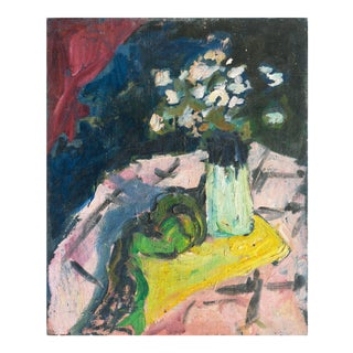 'Still Life of Pink Dog Roses' by Kay Christensen, 1919; Post-Impressionist Oil, Paris, Copenhagen For Sale