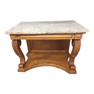 English Pine Marble Top Console