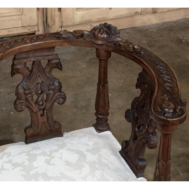 Italian 19th Century Italian Renaissance Walnut Courtship Chair For Sale - Image 3 of 11