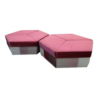 HUGE Pair of 5 Foot Hexagonal Ottoman Style Center Sofas For Sale