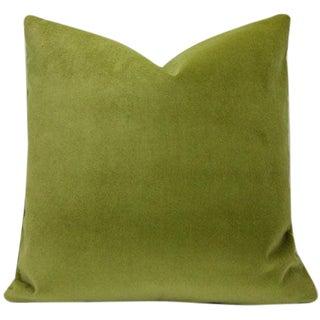Moss Green Velvet Pillow Cover - Cotton Velvet - 22x22 For Sale