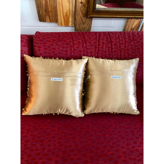 Contemporary Contemporary Bougainvillea Brown and Copper Sequin Pillows - a Pair For Sale - Image 3 of 6