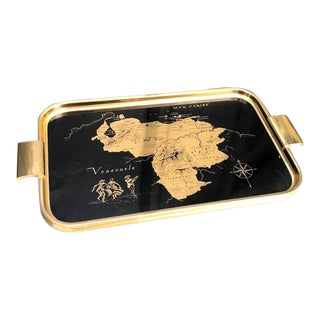 1960s Black/Gold Lacquered Venezuela Map Tray For Sale