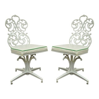 Pair Vintage Victorian Style Woodard Outdoor Patio Cast Aluminum Side Chairs