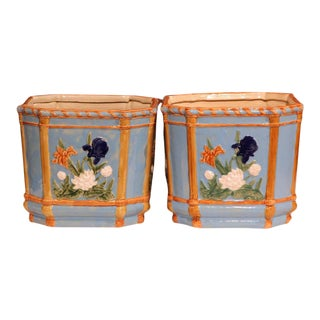 19th Century French Hand-Painted Barbotine Cache Pots With Flowers - A Pair For Sale