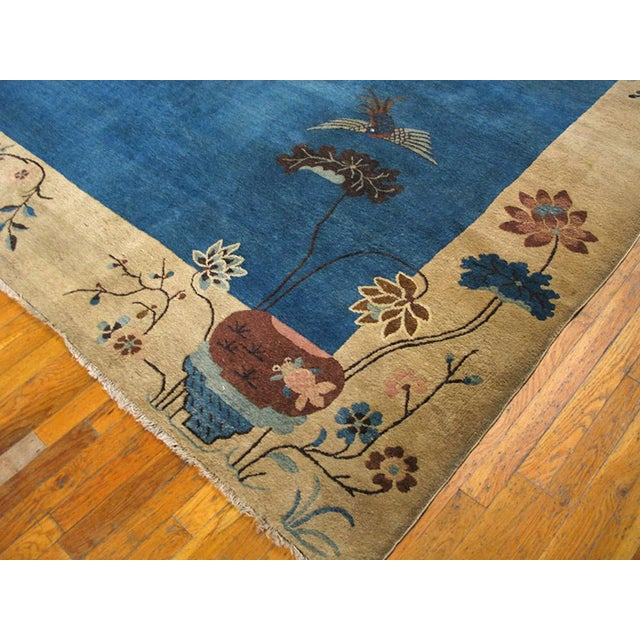 "1920s Chinese Art Deco Rug - 9'x11'10"" For Sale - Image 4 of 9"