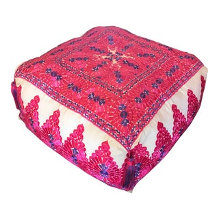 Hot Pink and Blue Moroccan Hand-Stitched Large Square Pouf Ottoman For Sale