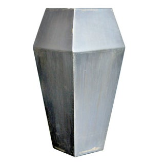 Small Diamond Steel Vase Blue Patina