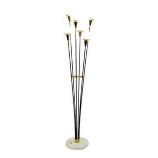 Italian Opaline Glass, Brass and Marble Floor Lamp - Pair Available
