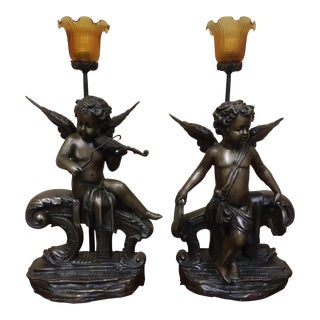 Cherub Table Lamps - A Pair