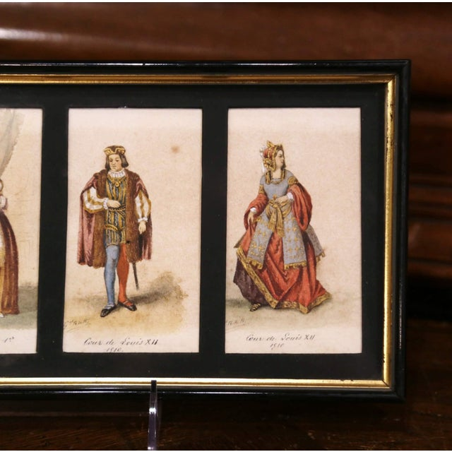 """Wood 19th Century French King of France Framed Color Prints """"Set of Three"""" For Sale - Image 7 of 12"""