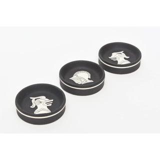 1960s Vintage Black & White Knights Porcelain Sculptural Dishes - Set of 3 Preview