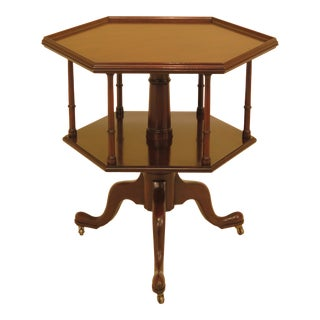 1970s Traditional Kittinger Colonial Williamsburg Mahogany Revolving Side Table For Sale