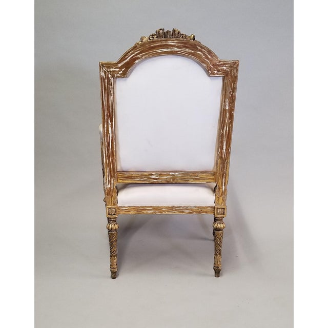 C. 1910 French LXIV Style Pair of Arm Chairs For Sale - Image 4 of 8