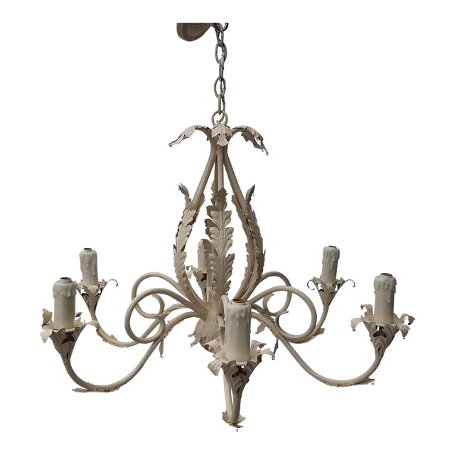 1980's Scrolling Iron Chandelier For Sale