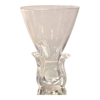 Vintage 1950's Signed Steuben Crystal Vase For Sale