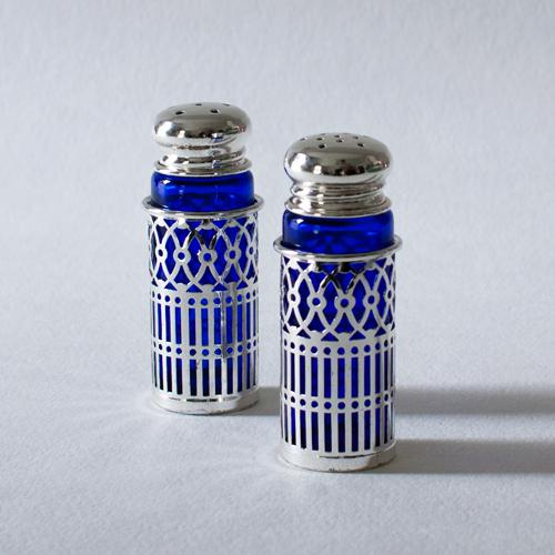 Cobalt Glass and Silverplate Salt and Pepper Shakers - Image 2 of 3
