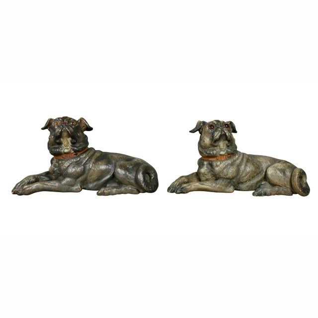 Reclining Pug Dogs Terracotta Figures - a Pair For Sale - Image 4 of 10