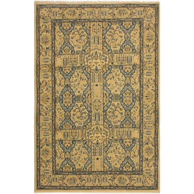 Tan Semi Antique Istanbul Gaye Tan/Teal Turkish Hand-Knotted Rug -4'8 X 7'0 For Sale - Image 8 of 8